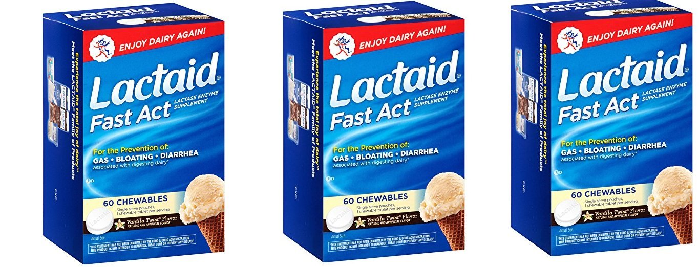 Lactaid, Chewables, Vanilla Twist, 60 EQXdaR Count (Pack of 3)