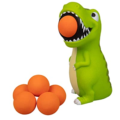 Hog Wild T-Rex Dinosaur Popper Toy - Shoot Foam Balls Up to 20 Feet - 6 Balls Included - Age 4+: Toys & Games