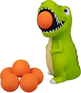 Hog Wild T-Rex Dinosaur Popper Toy - Shoot Foam Balls Up to 20 Feet - 6 Balls Included - Age 4+