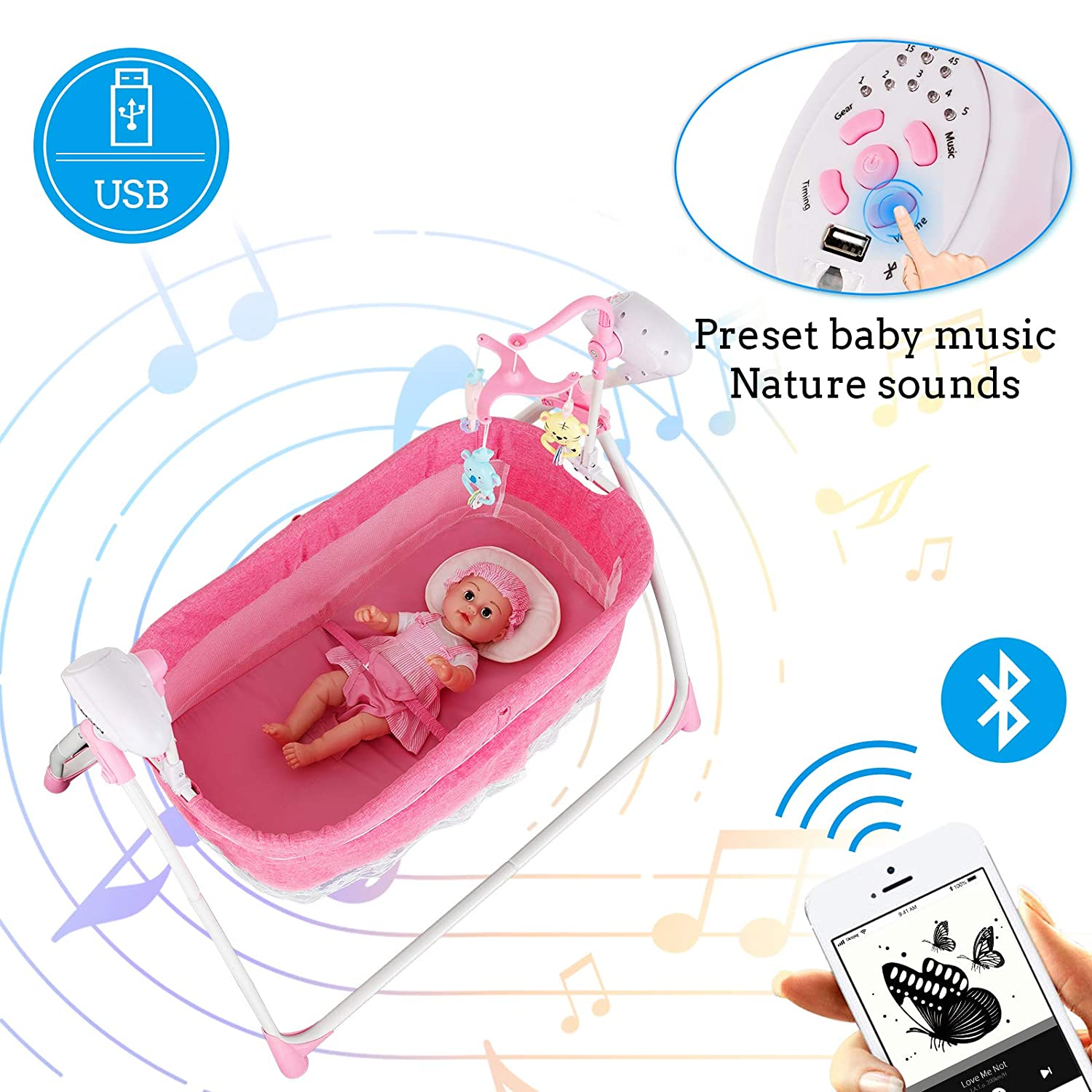 Music Timing Uenjoy Automatic Baby Electric Basket Rocking Multifunction Baby Swing Cradle Bed,Remote or Panel Control Adjustable Speed Gray