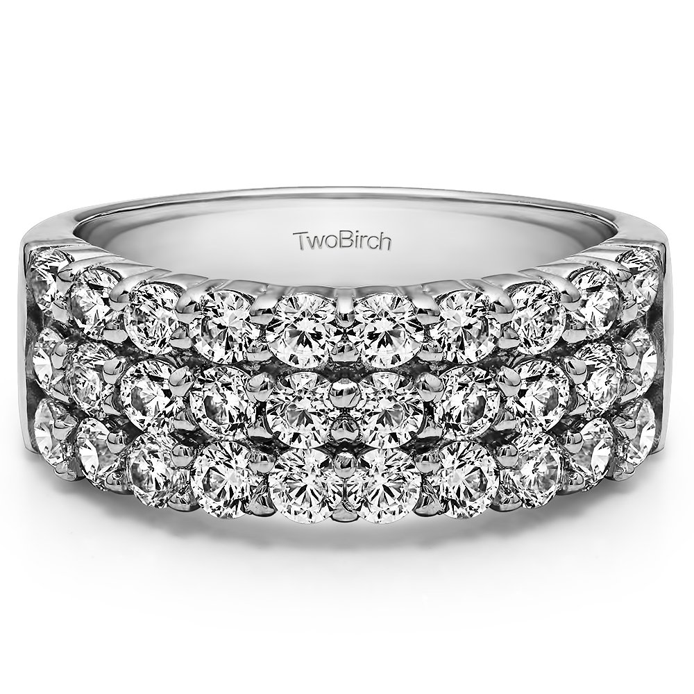 TwoBirch 1 1/2 CT Three Row Double Shared Prong Anniversary band in Sterling Silver Cubic Zirconia(Size 3 to 15 in 1/4 Size Intervals)