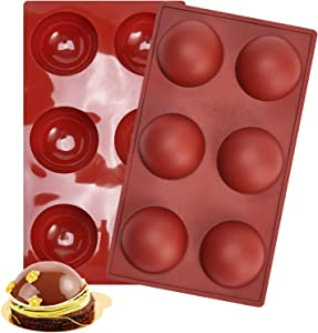 6 Holes Half Round Shape Silicone Mold for Chocolate, Cake, Jelly, Candy, Pudding, Handmade Soap, Mousse Making, Half Ball Sphere Silicone Cake Mold, Cocoa Chocolate Bombs Molds(2pcs)