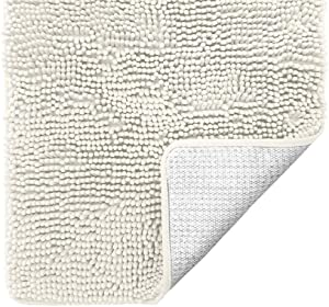 Gorilla Grip Original Luxury Chenille Bathroom Rug Mat, 24x17, Extra Soft and Absorbent Shaggy Rugs, Machine Wash Dry, Perfect Plush Carpet Mats for Tub, Shower, and Bath Room, Ivory