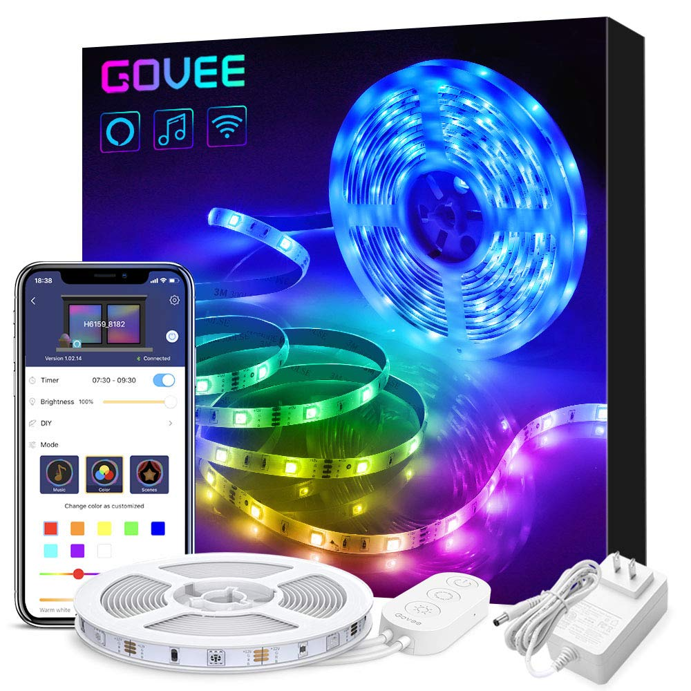Govee Smart WiFi LED Strip Lights Works with Alexa and Google Home Bright 5050 LED 16 Million Colors Phone App…