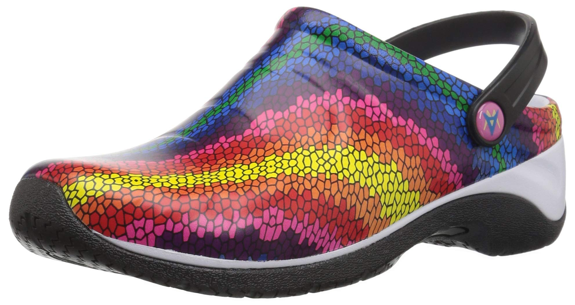Anywear Women's Zone Medical Professional Shoe, Stained Glass, White, Black, 5 Medium US