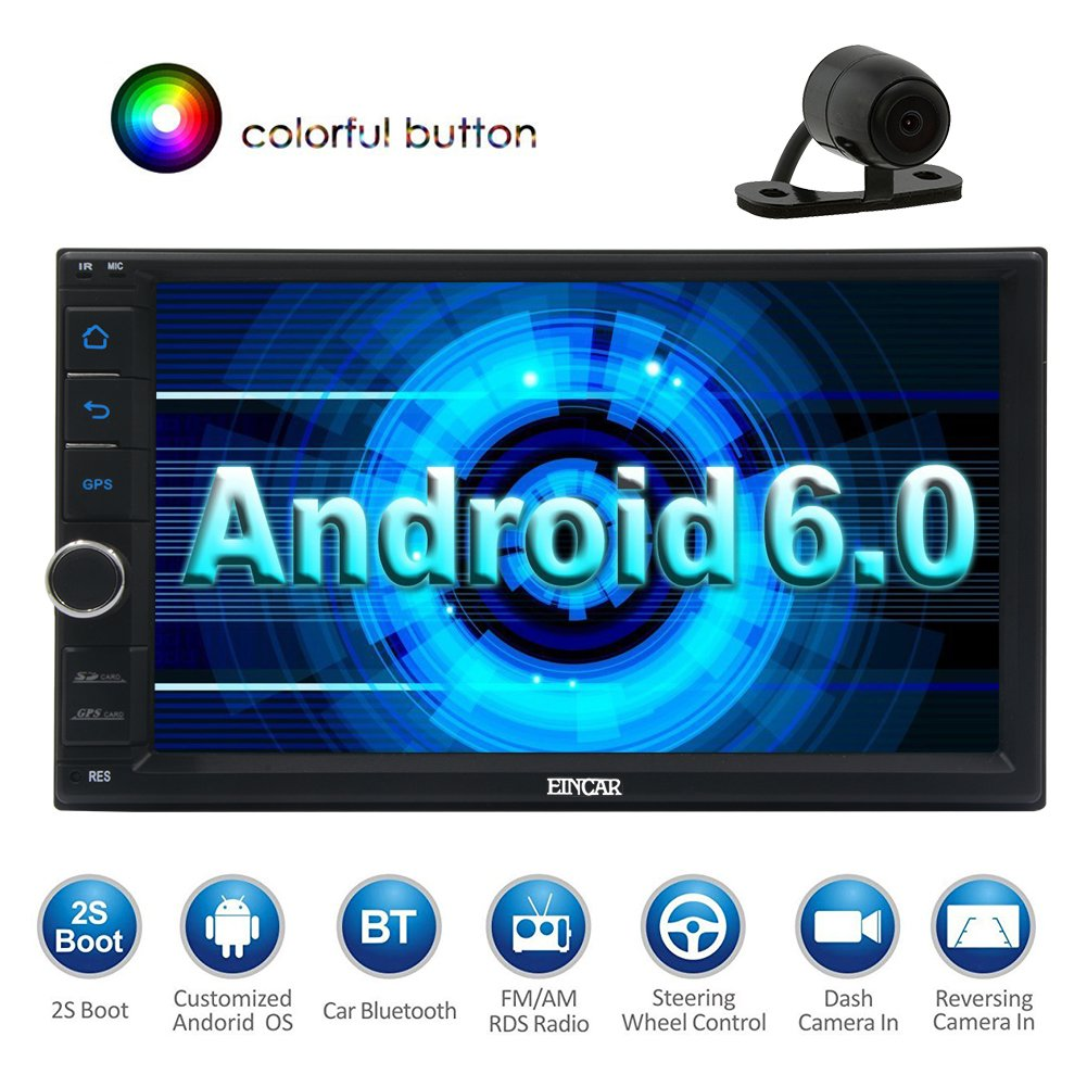 Rear Camera Included!Eincar Android 6.0 Car Stereo Double Din GPS Navigation In Dash with 7 Inch Touch Screen Support FM/AM RDS Radio Mirror Link Bluetooth Autoradio Steering Wheel Control USB SD