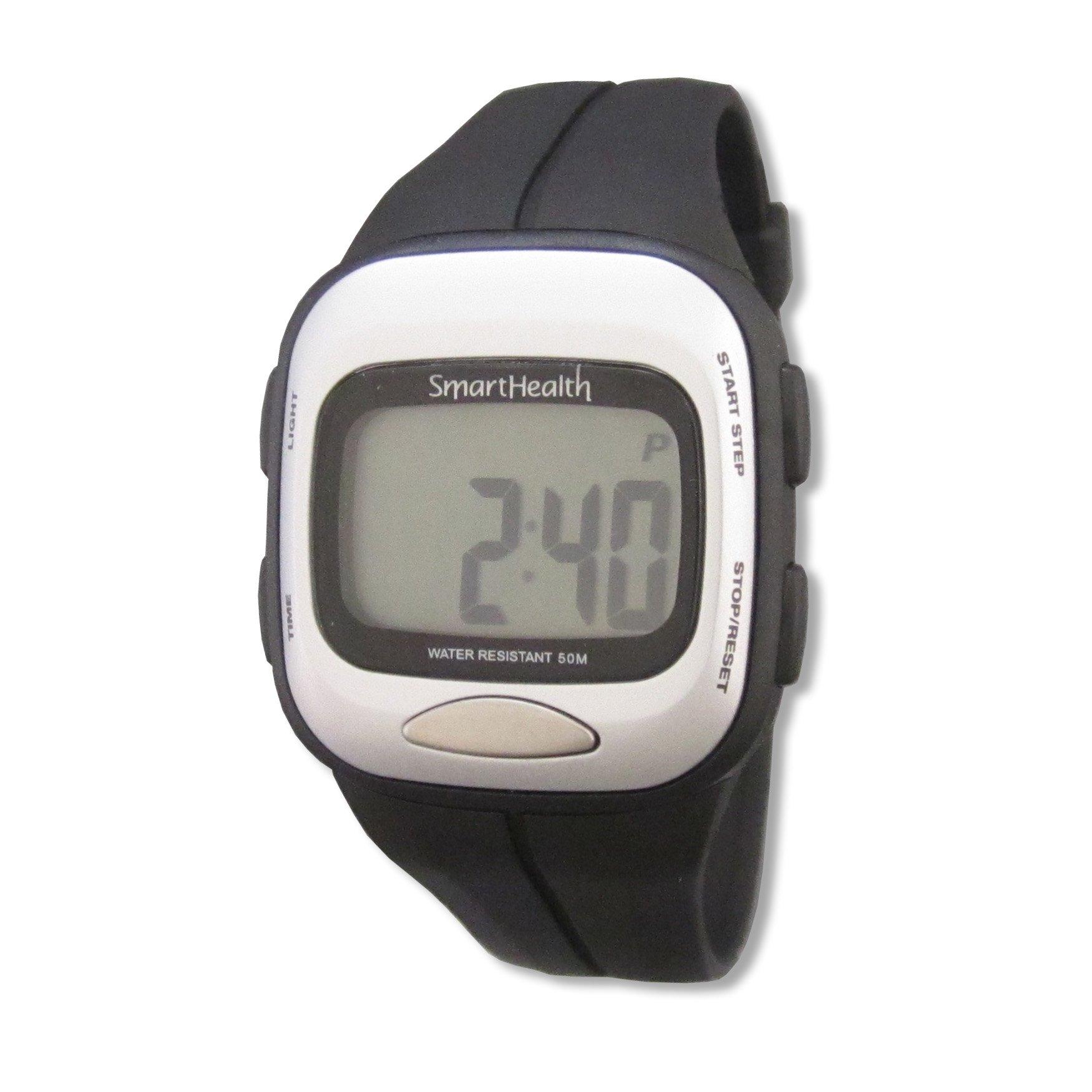 Smart Health Digital Pedometer Heart Rate Watch (Black) by Smarthealth