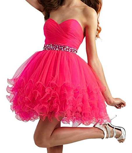 Yahmet Juniors Homecoming Dresses Cheap Sweetheart Prom Dresses Short Mini Party Dress Hot Pink 2