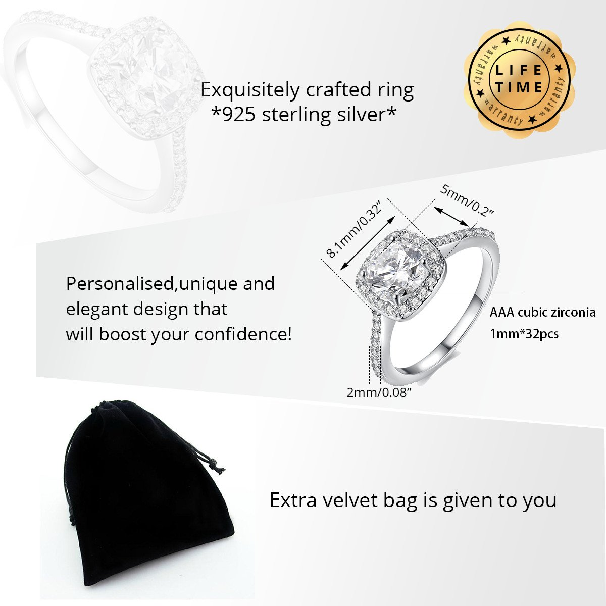 Uloveido 925 Sterling Silver Cushion Cut Cubic Zirconia Halo Solitaire Engagement Rings for Women,Platinum Plated,Wedding Rings,Size 8,LJ074 by Uloveido (Image #6)