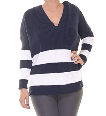 Women s Lauren Ralph Lauren Oversized Wide Knit Sweater (Petite M)  Blue White e4e9b3f55