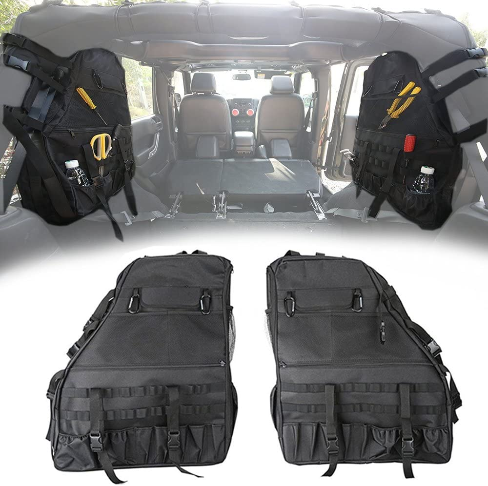KMFCDAE Roll Bar Storage Bag for Jeep Wrangler Roll Cage Saddlebag Organizers with Multi-Pockets Cargo Bag Tool Kit Holder for Jeep Wrangler TJ LT JK JKU /& Unlimited 4-Door 1997-2018 1 Pair