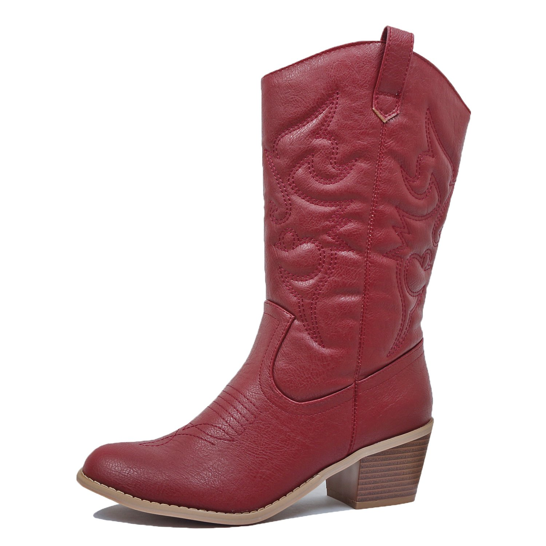West Blvd - Womens Miami Cowboy Western Boots (7 B(M) US, Burgundy Pu)