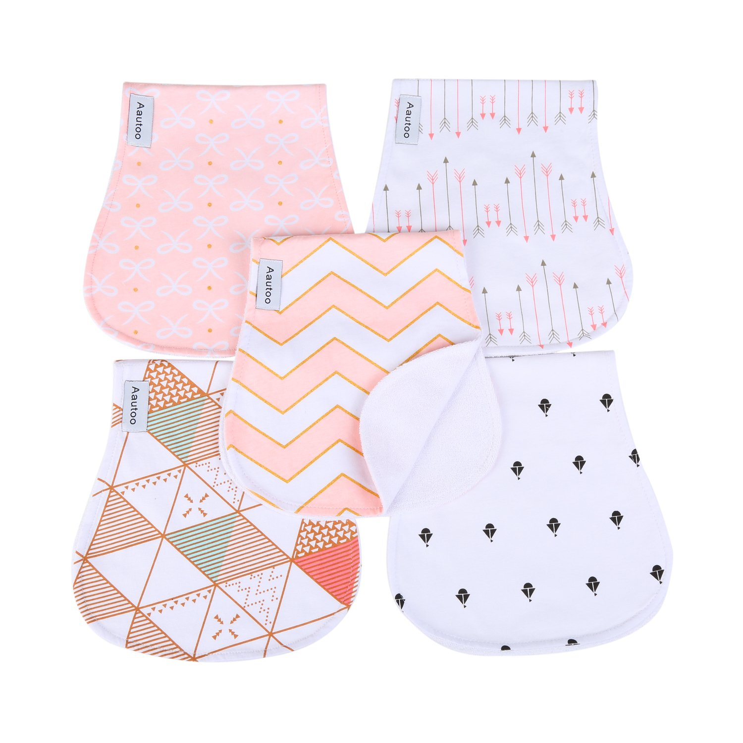 Baby Burp Cloths for Girls 5 Pack Burp Cloths Towel Burping Rags for Babies Newborns Baby Shower 100% Super Absorbent Organic Cotton Soft Triple Layer by Aautoo