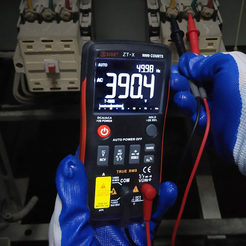 Bside EBTN Digital Multimeter 3-Line Display 9999 Counts Button Design True RMS Auto-Ranging DMM AC DC Amp Volt Ohm Hz Diode Temperature Capacitance Continuity Voltmeter with Alligator Clip