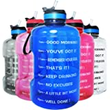 QuiFit Motivational Gallon Water Bottle - with Straw & Time Marker BPA Free Large Reusable Sport Water Jug with Handle…