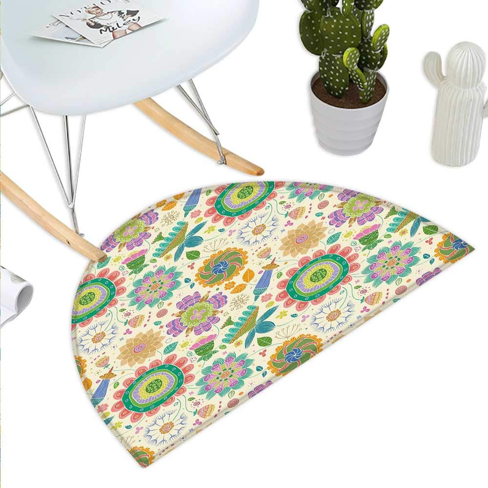 color13 H 23.6  xD 35.4  Floral Semicircle Doormat Doodle Style Mother Earth Background with Various Leaf Dandelions Tribal Boho Design Halfmoon doormats H 27.5  xD 41.3  Multicolor