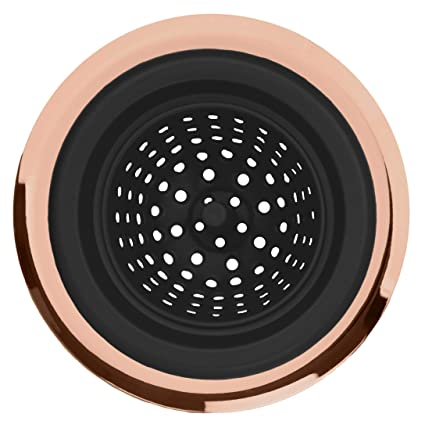 COOK with COLOR Flexible Silicone Kitchen Sink Strainer Rose Gold Copper  Large Wide 4.5\' Diameter Rim/Black Silicone Durable Drain Basket Traps Food  ...