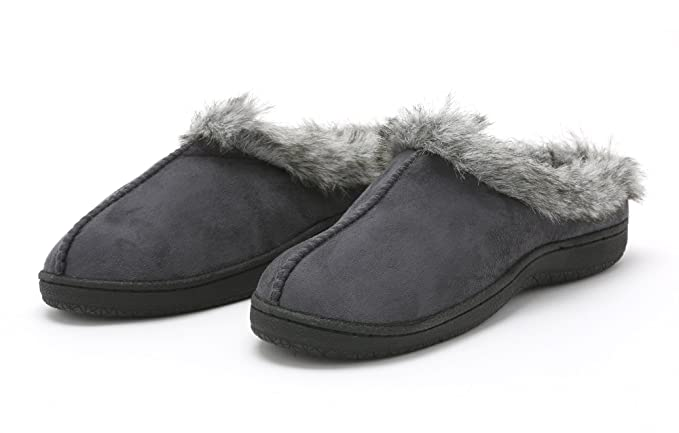 003a8c51913e2c Pembrook Ladies Faux Suede and Fur Slippers – Size S – Comfortable Memory  Foam Indoor and
