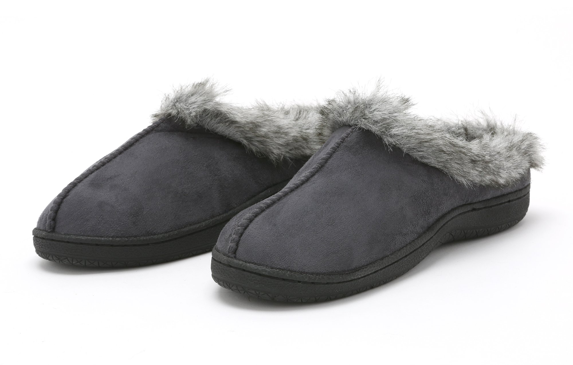 Pembrook Ladies Faux Suede and Fur Slippers – Size M – Comfortable Memory Foam Indoor and Outdoor Non-Skid Sole - Great Plush Slip on House Shoes for adults, women, girls