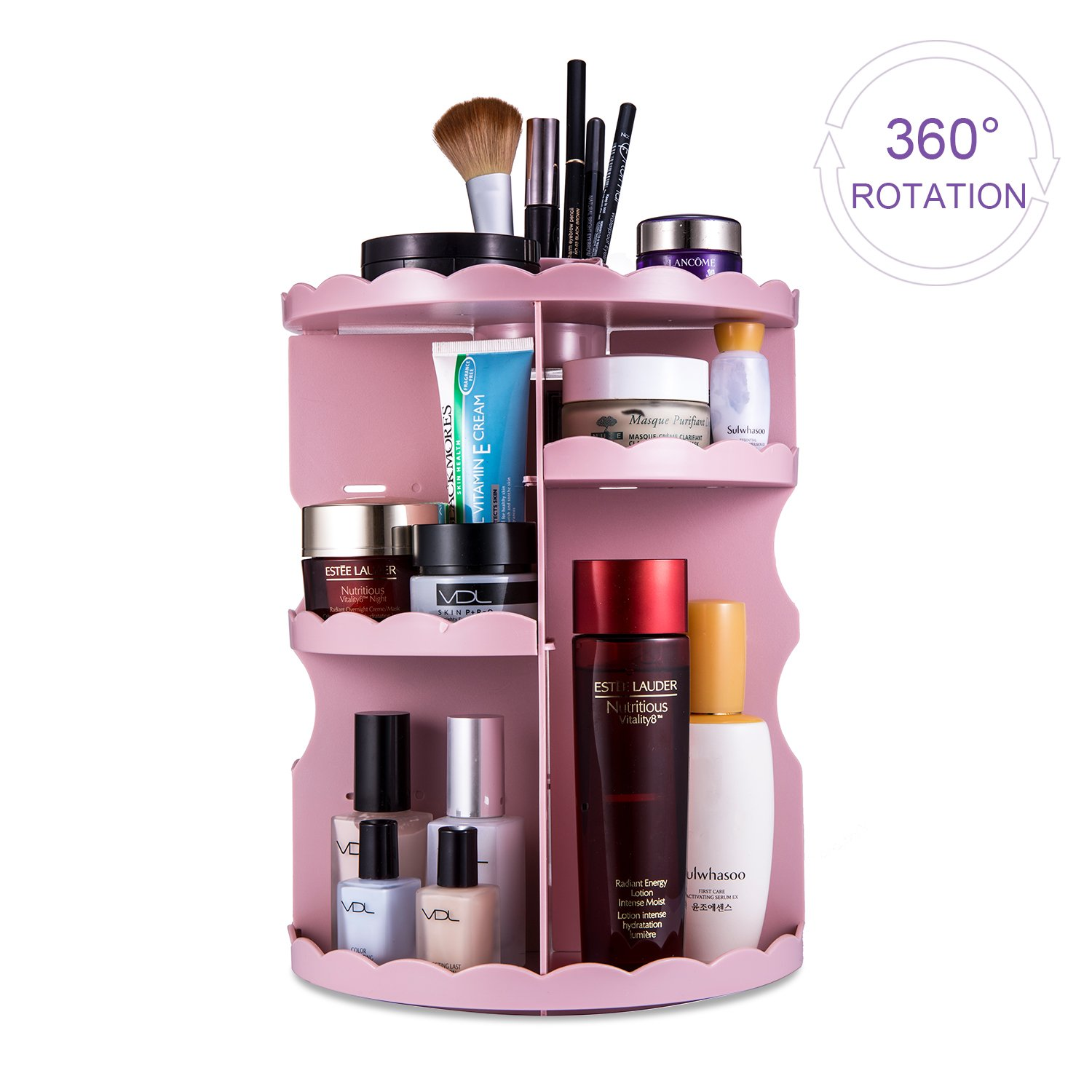 Rotating Makeup Organiser, Lesfit Adjustable 360 Degree Rotation 8 Layers Large Capacity Makeup Shelf Cosmetic Storage Organiser for Nail Polish, Eye Shadow, Lipsticks, Makeup Brushes ( Black, 320*230MM)