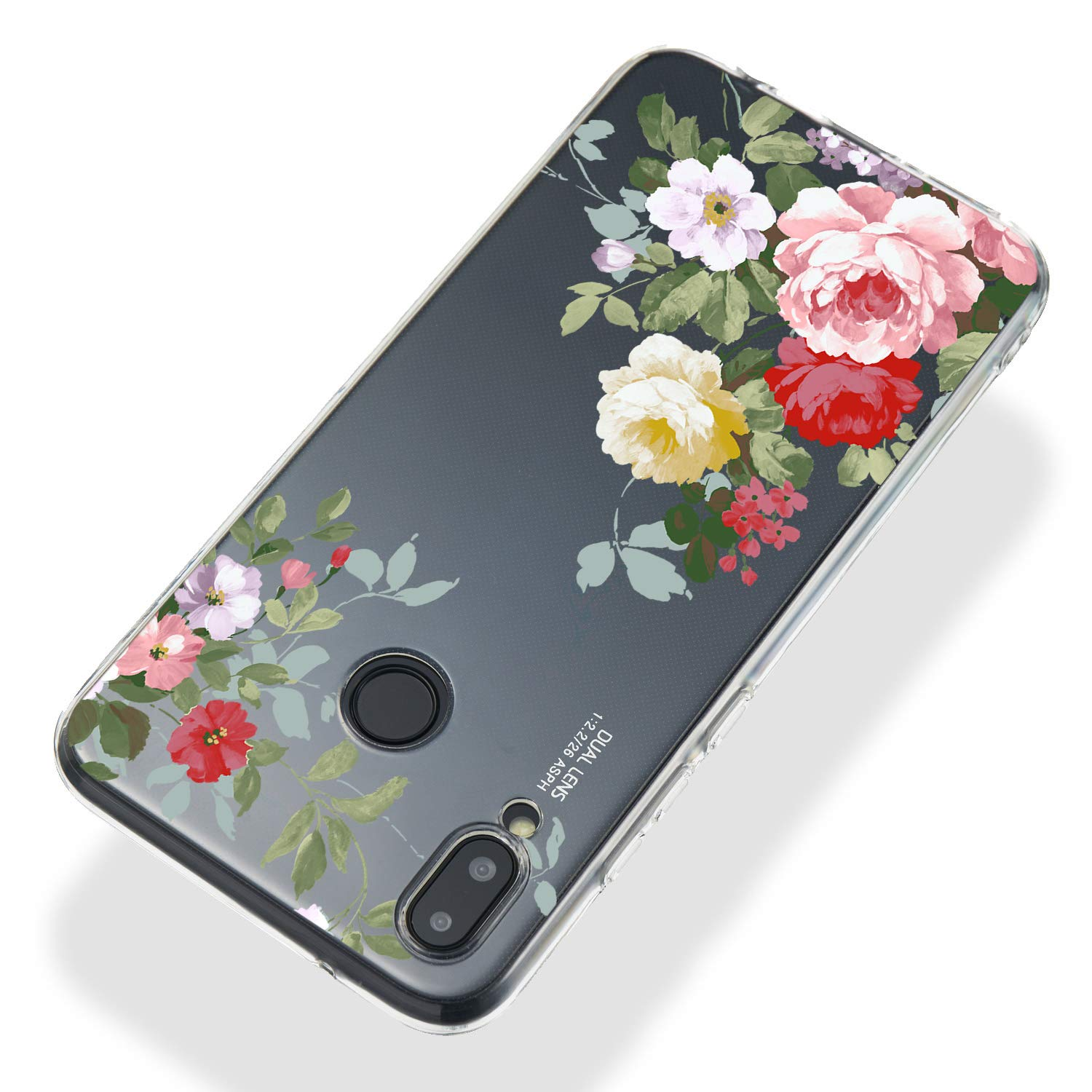 Soft Clear Case for Huawei P20 Lite,Flexible Plastic Case for Huawei P20 Lite,Moiky Creative Diagonal Green Branch Peony Printed Ultra Thin TPU Silicone Transparent Crystal Slim Fit Back Cover Case by MOIKY (Image #3)