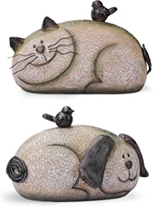 Dog & Cat Garden Figurine Set of 2, Whimsical Pets Decorations for Outside, Resin Animals Outdoor Statues, Spring Decor for Home, 9.125