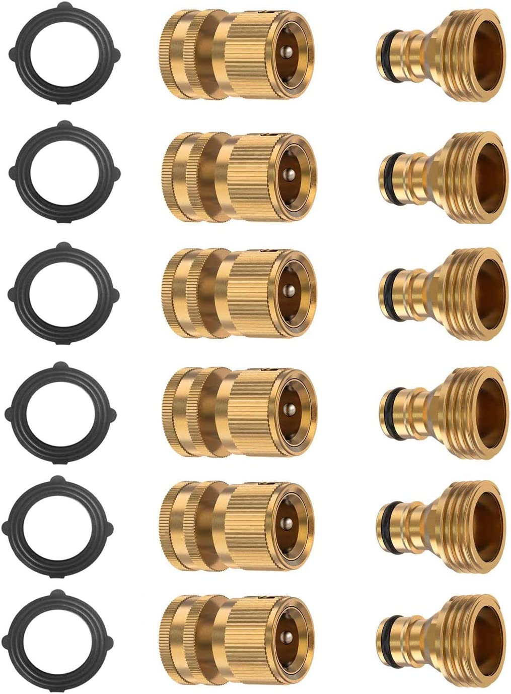 BoArt (6 Sets Garden Hose Quick Connector Set, Solid Brass 3/4 Inch Water Fitings Thread Easy Connect No-Leak Male Female