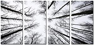 LevvArts - Black and White Forest Canvas Wall Art Low Angle View Aspen Trees Picture Print on Canvas,San Juan National Forest,4 Panels Framed Artwork for Modern Home Wall Decoration