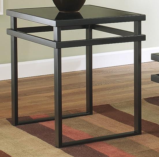 FurnitureMaxx Lane 3pc Black Metal and Glass Coffee End Table Set