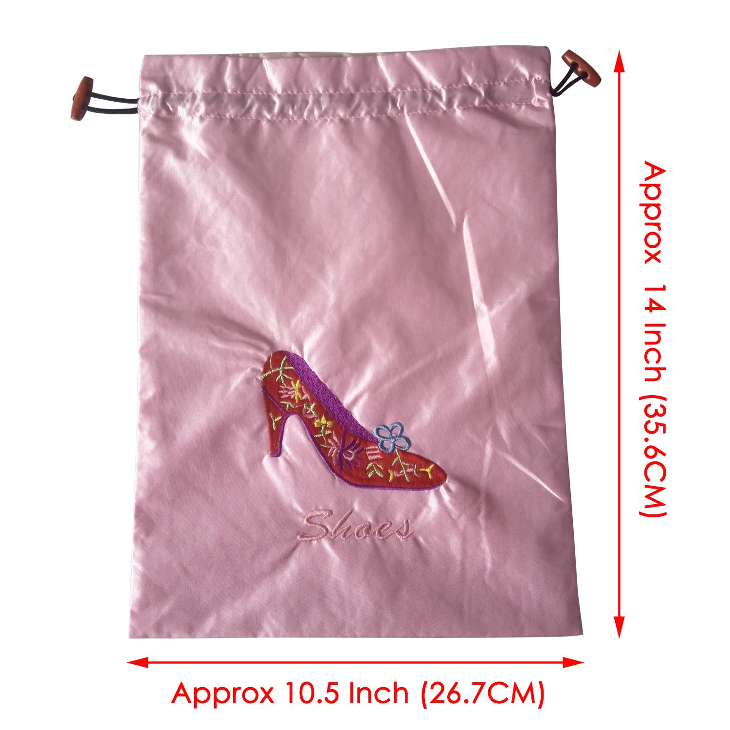 Gold Fortune 3 Packs 10.5'' x 14'' (L x W) Embroidered Silk Jacquard Travel Lingerie and Shoes Bags with Drawstring Closure (Pink) by Gold Fortune (Image #5)