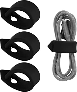 Set of 3, Black ELFRhino Cord Organizer Cable Straps Clips Wire Ties Earbuds Earphone Headphone Headset Wrap Winder Holder Keeper Manager Management