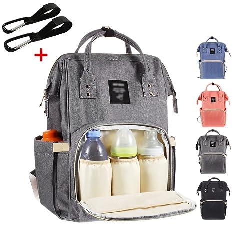 26f48c58d6 Baby zaino fasciatoio con gancio per passeggino 2, multifunzionale  impermeabile borsa fasciatoio con grande capacità