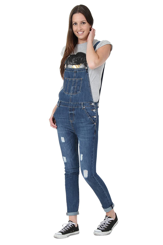 Womens Dungarees - Slim Fit Bib Overalls Narrow Leg Detachable Straps