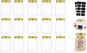 16 oz Mason Jars With Lids Regular Mouth 15 Pack-16 oz Glass Jars with Lids,Bulk Pint Clear Glass Jars For Meal Prep, Food Storage With 20 Labels (Gold Lids)