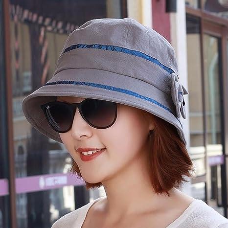 SAIBANGZI Hat Mujer Otoño Bow Dama Moda Sombrero Del Pescador Madre  Sombrero Gris. ec7cbe53cd3