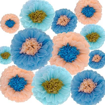 Tissue Paper Flowers Decorations For Baby Shower Birthday Party Wall Background Decoration 12pcs Assorted Sizes Blue