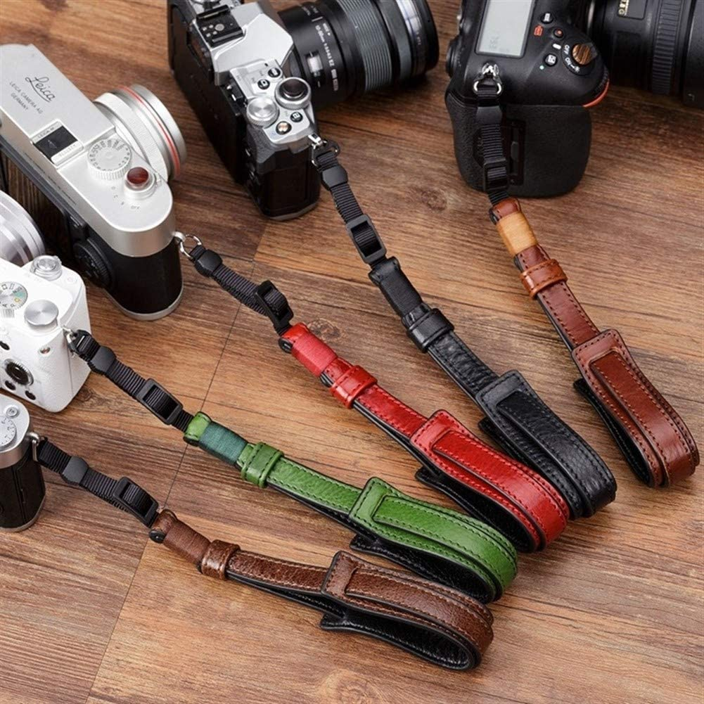 Color : Red Camera Belt Accessory Vintage Genuine Leather Camera Strap Grip Mirrorless Digital Camera Lanyard Wrist Strap Durable