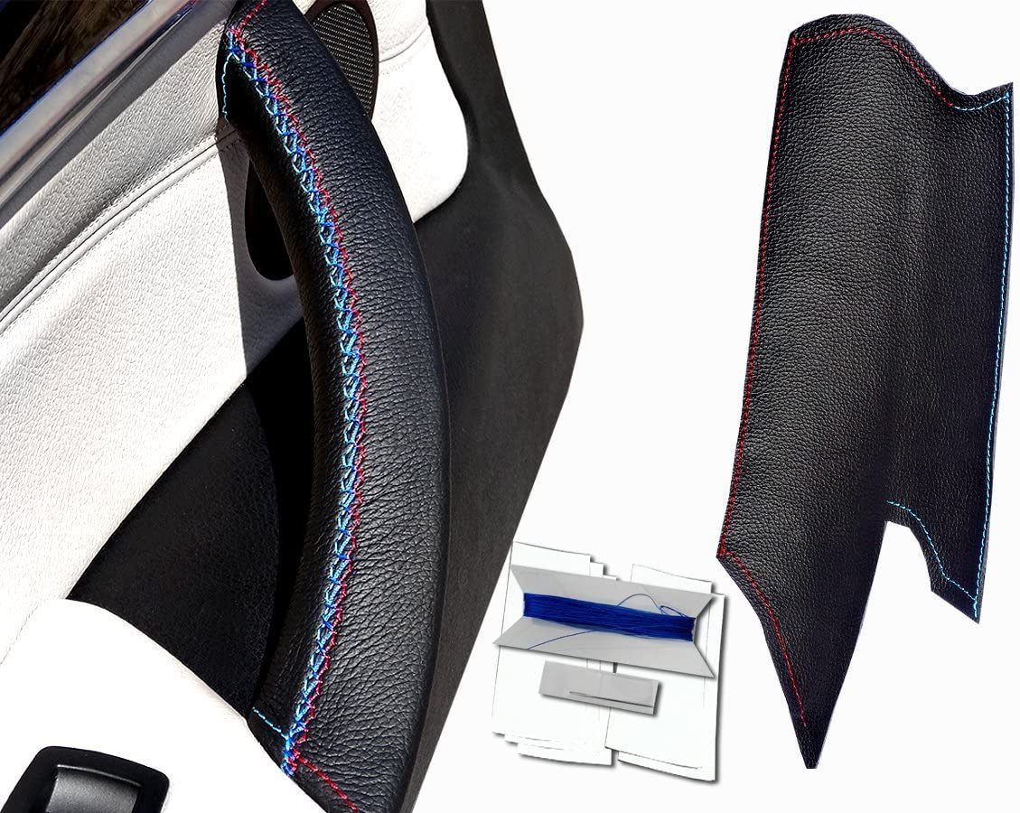 X6 50iX E71 Couvercle de poign/ée de porte en cuir noir avec coutures noires pour dragonne X5 E70 et X6 40dX