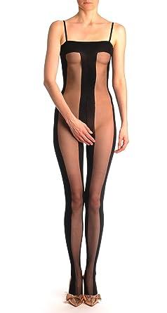 b2ac33010bf Opaque   Transparent Wide Vertical Stripes Bodystocking - Black Striped  Bodystocking