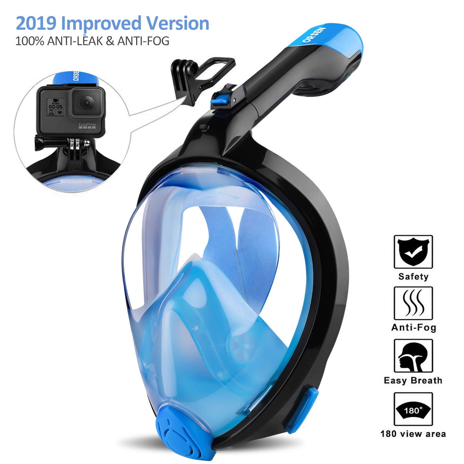 ORSEN Newest Snorkel Mask Foldable 180 Panoramic View Free Breathing Full Face Snorkeling Mask with Detachable Camera Mount, Dry Top Set Anti-Fog Anti-Leak for Adults & Kids (Black Blue, S/M) by ORSEN