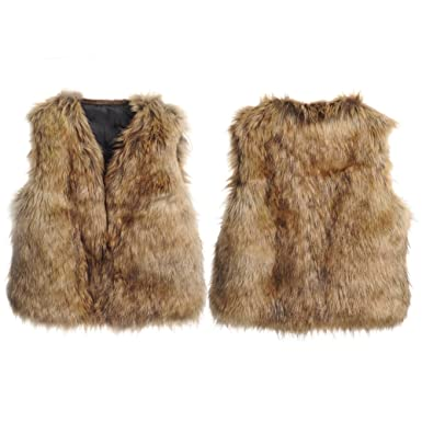 c305b1c34 Amazon.com  Per Unisex Baby Faux Fur Vest Warm Sleeveless Jacket  Baby