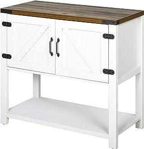 HOMCOM 2-Door Free Standing Storage Cabinet with Bottom Shelf, Kitchen Cupboard, Entryway Storage Cabinet- White