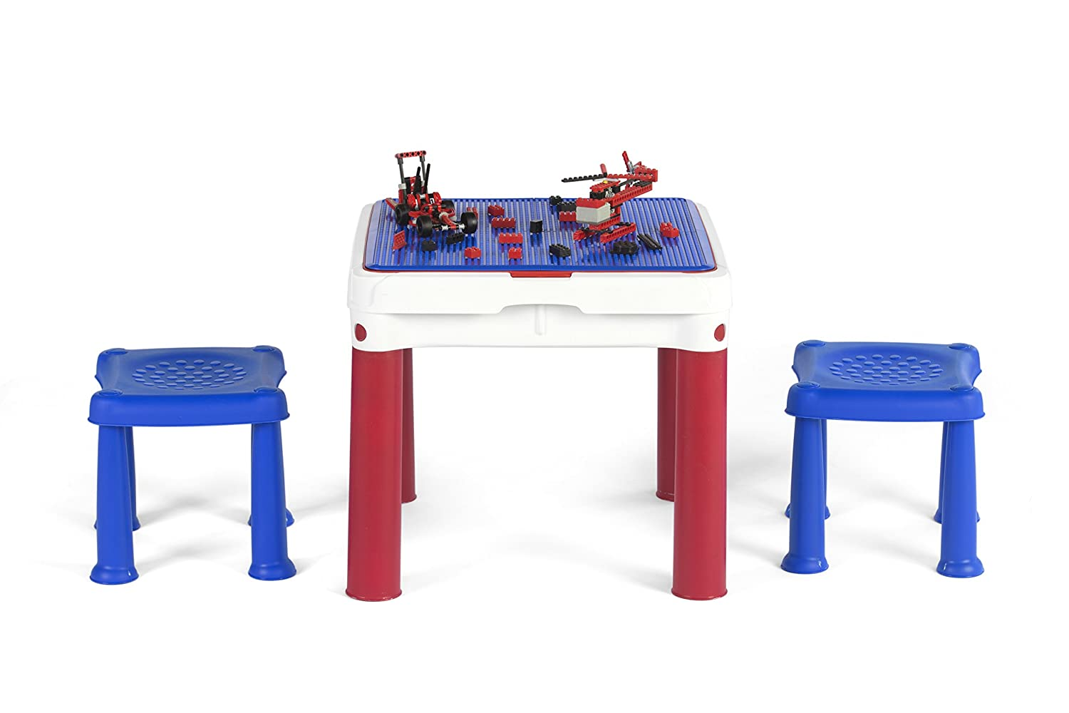 Keter 51 x 51 x 44 cm Constructable Indoor/Outdoor Children's Play and Store Activity Table with Two Stools - Blue/White/Red 17201603