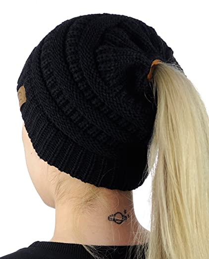 f3d5865527f97 ... the best beanie hats for women in 2018  1. C BeanieTail Soft Stretch  Cable Knit Messy High Bun Ponytail Beanie Hat