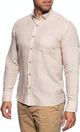 DUST - Camisa de manga larga para hombre beige XXL: Amazon.es ...