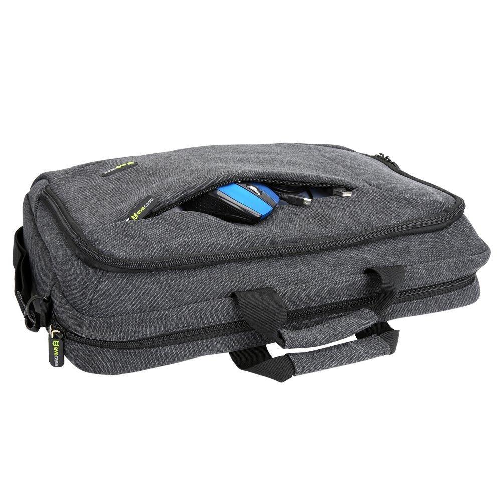 17.3 inch Laptop Messenger Bag, Evecase 17.3 Canvas Shoulder Bag - Dark Grey w/Handles, Shoulder Strap, and Multiple Accessory Pockets 885157964920