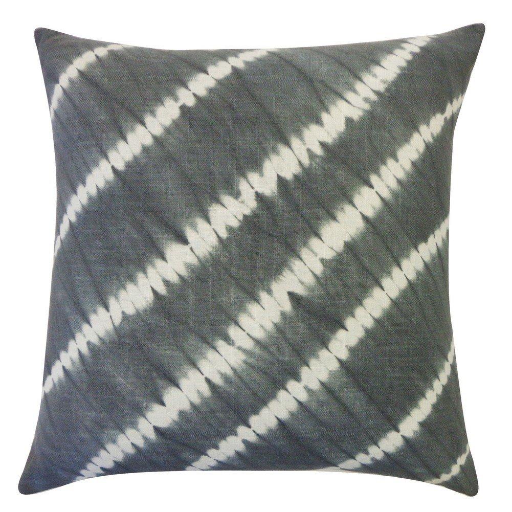 Vivai Home Grey Diagonal Tie Dye Pattern 18x 18 Square Cotton Feather Pillow