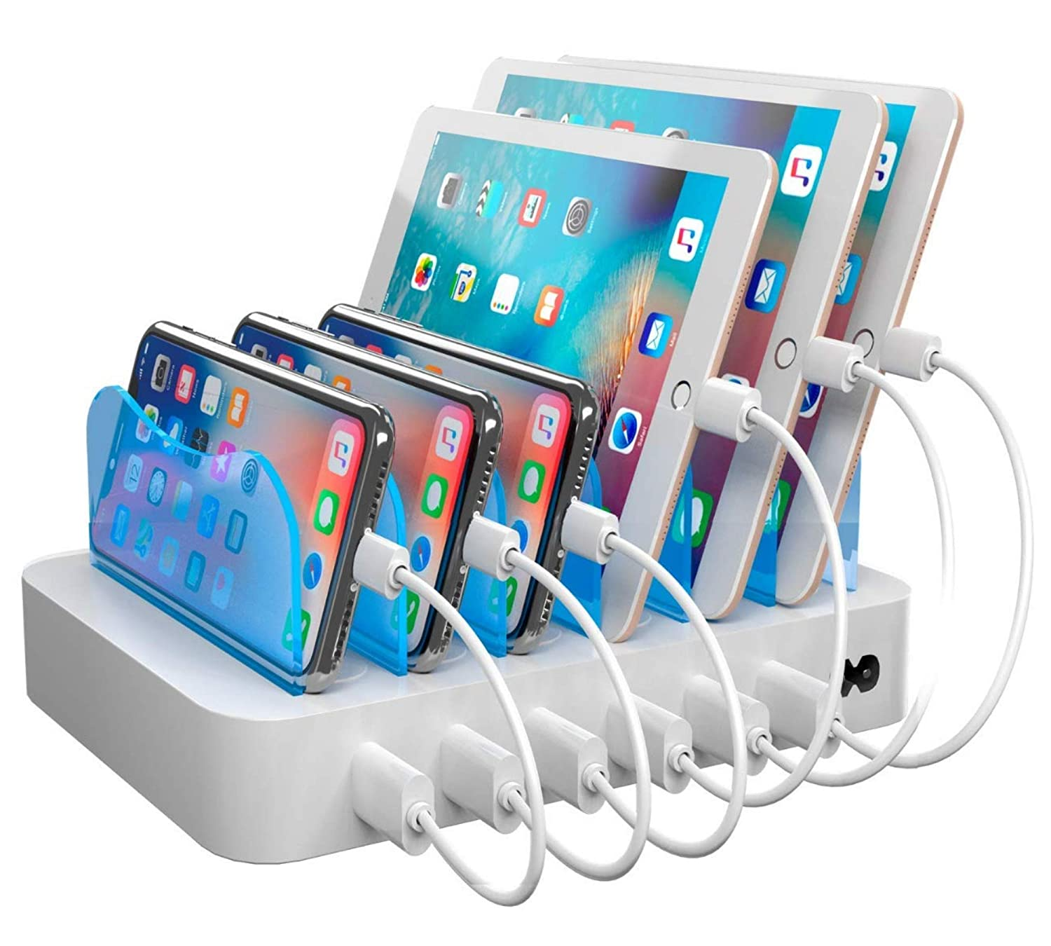 Hercules Tuff Charging Station for Multiple Devices, 6 USB Ports, Short Cables Included, White