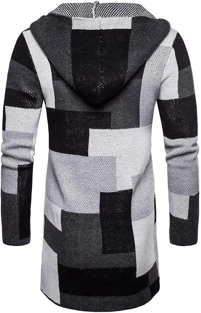 Sumen Men Hooded Knit Long Cardigan Fashion Color Block Coat Jacket