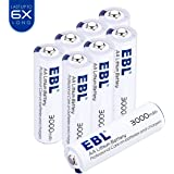 EBL 8 Pack Lithium AA Batteries, 3000mAh Last 6 times Longer, 1.5V Primary AA Battery